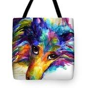 Colorful Sheltie Dog Portrait Tote Bag