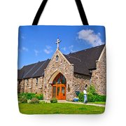 Colorful Stone Catholic Church In North Bay Of Lake Nipissing-on Tote Bag