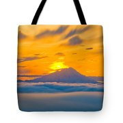 Colorful Sunset Behind Mt. Redoubt And Tote Bag