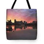 Colorful Sunset Over Portland Downtown Waterfront Tote Bag