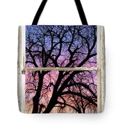 Colorful Tree White Farm House Window Portrait View Tote Bag