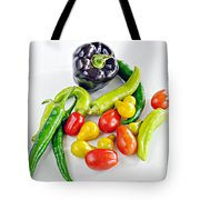 Colorful Veggies On White Tote Bag