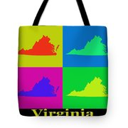 Colorful Virginia State Pop Art Map Tote Bag