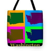 Colorful Washington State Pop Art Map Tote Bag