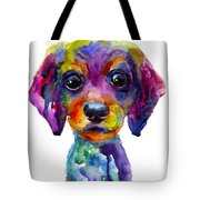 Colorful Whimsical Daschund Dog Puppy Art Tote Bag