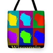 Colorful Wisconsin Pop Art Map Tote Bag