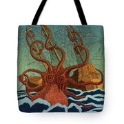 Colossal Octopus Attacking Ship 1801 Tote Bag