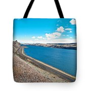 Columbia River Rolls On Between Oregon And Washington  Tote Bag