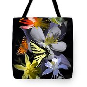 Columbine And Butterfly Collage Tote Bag