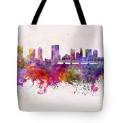 Columbus Skyline In Watercolor Background Tote Bag