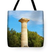 Column At The Temple Of Hera Olympia Greece Tote Bag