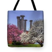 Columns And Dogwood Trees Tote Bag