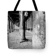 Columns At The Church Of Nativity Black And White Vertical Tote Bag