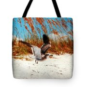 Windy Seagull Landing Tote Bag