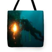 Commercial Diver At Work Tote Bag