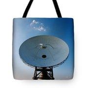 Communicating Via Satellite Dishes. Tote Bag