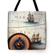 Compass And Old Map With Ships Tote Bag