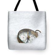 Compass In Snow Tote Bag