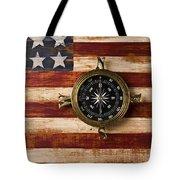 Compass On Wooden Folk Art Flag Tote Bag
