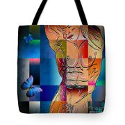 Composition In Blue Tote Bag