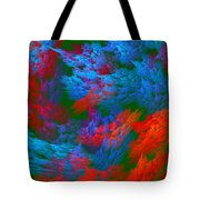 Computer Generated Abstract Red And Green Fractal Flame Tote Bag