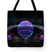 Computer Generated Blue Purple Abstract Fractal Flame Black Background Tote Bag