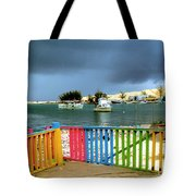 Conch Boats Arriving Tote Bag
