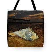Conch Shell And Pier Predawn 2 10/18 Tote Bag