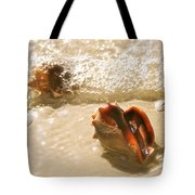 Conchs In Surf 2 Antique Tote Bag