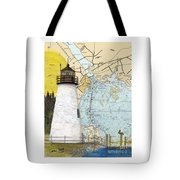 Concord Pt Lighthouse Md Nautical Chart Map Art Cathy Peek Tote Bag
