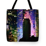 Concrete Canyons Of Manhattan At Night  Tote Bag