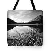 Cone Shaped Mountain Reflected In Lake At Sunset Tote Bag
