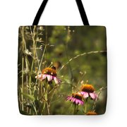 Coneflowers Weeds And Bee Tote Bag