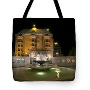 Confederation Fountain In Victoria Bc With Code Of Arms Tote Bag