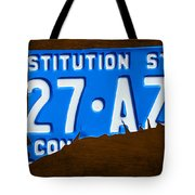 Connecticut State License Plate Map Tote Bag