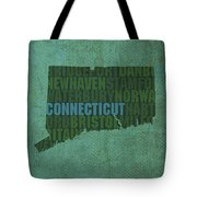 Connecticut Word Art State Map On Canvas Tote Bag by Design Turnpike