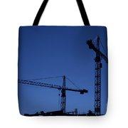 Construction Cranes At Dusk Tote Bag
