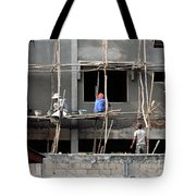 Construction Crew In Laos Tote Bag