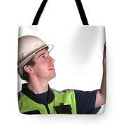 Construction Worker In Safety Jacket Tote Bag