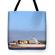 Container Ship At Sea Tote Bag by Olivier Le Queinec