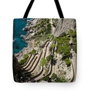 Contemplating Mediterranean Vacations - Via Krupp Capri Island Italy Tote Bag
