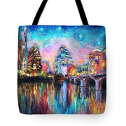 Contemporary Downtown Austin Art Painting Night Skyline Cityscape Painting Texas Tote Bag