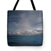 Contrails And Rainclouds Over Lake Michigan Tote Bag