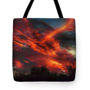 Contrails And Sunset Tote Bag