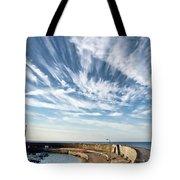 Contrails At Lyme Regis Harbour  Tote Bag