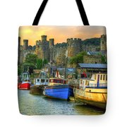 Conwy Castle And Harbour Tote Bag