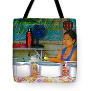 Cooking In The Marketplace In Tachilek-burma Tote Bag