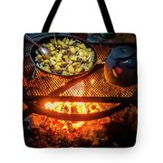 Cooking Meat And Potatoes Tote Bag