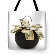 cooking Pot full of Money White Background Tote Bag