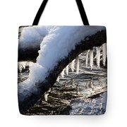 Cool Icicles Reflecting In The Waves  Tote Bag